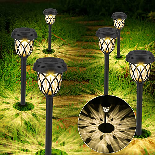 Lámparas Solares Para Jardín, 6 Piezas Blanca Cálida Luces Solares Jardin, Impermeable luz Solar Jardin, Luces Solares Exterior de Decoración, Luz Led Jardin de Césped para Pasillo, Césped, Patio