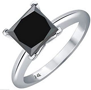 1/2-10 Carat Total Weight Princess 14K White Gold Black Diamond Ring (AAA Quality)
