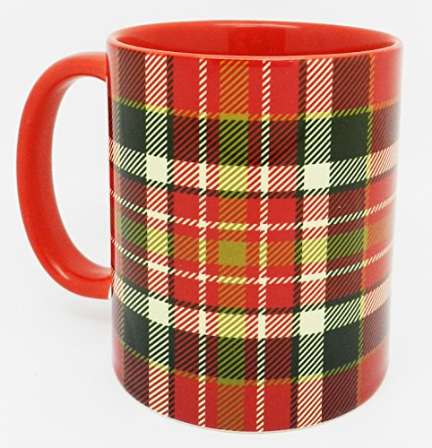 Traditional Red Scottish Tartan Mug with glazed red handle and inner by Half a Donkey