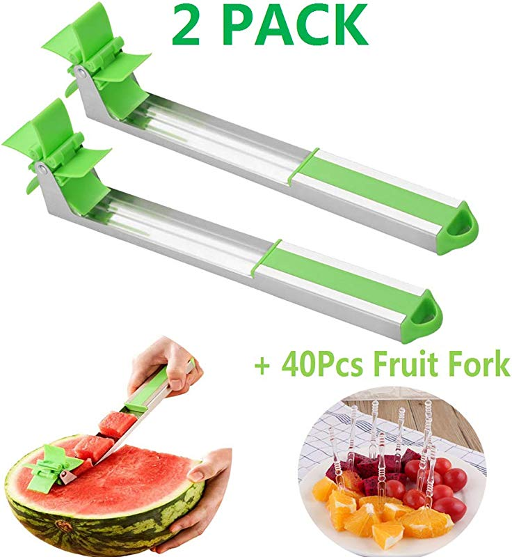PASNOWFU 2019 NEW Stainless Steel Windmill Watermelon Slicer Watermelon Cucumber Windmill Block Stainless Steel Fruit Cutting Tool Easy To Clean 2 Pack