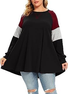 Plus Size Tops For Women Color Block Sweatshirts...