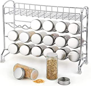 3 Tier Spice Rack with an additional top basket, 18 Glass Bottles Spice Jars and Labels, Great for Kitchen Countertop Cabinet Dining Pantry Storage, Chrome