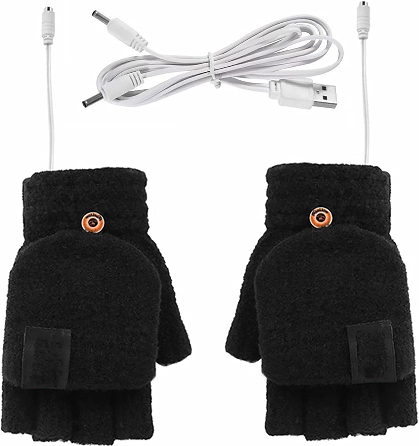 USB Heated Mittens, Winter Full& Half Finger USB Heating Warm Hot Hands Electric Heated Gloves, Knitted Laptop Gloves with Finger Cover for Typing, Fishing, Biking, Hiking