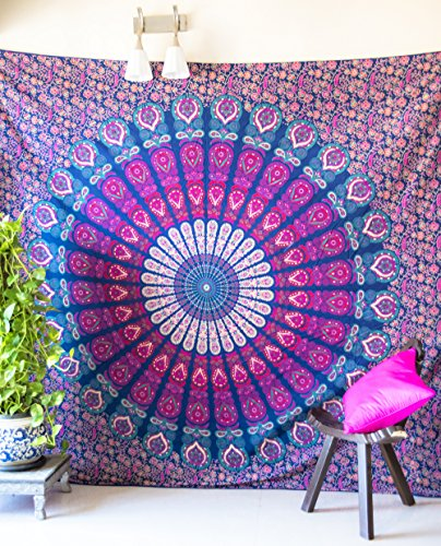 Folkulture Peacock Parade Bohemian Tapestry Hippie Wall Hanging, Indian Mandala Bedspread for Bedroom, Blue Bedding Blanket or College Dorm Room Art Décor, Queen Size Cotton Pink Purple Boho Spread