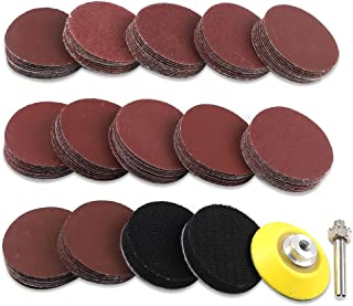Coceca 180pcs 2 Inches Sandpaper Sanding Discs Pad Kit for Drill Grinder Rotary Tools with Backer Plate a Quartar Inch Shank