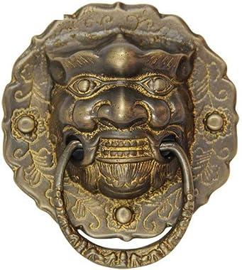 Knocker,Brass Handle Chinese Door Handle Beast Head Knocker Old Brass Door Knocker Antique Small Handle Wooden Handle-A