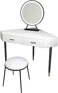 Coiffeuse d'angle pour filles, bureau de maquillage avec lumières LED Miroirs de luminosité réglable Table de toilette mod...
