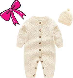 Mornyray Baby Girls' Newborn Sweater Jumpsuit Winter Knit Romper Clothes