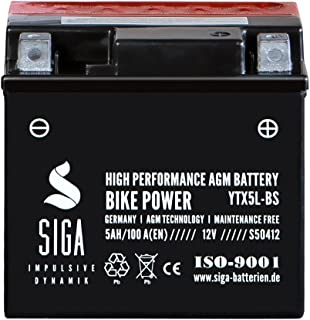 Motorrad Batterie YTX5L BS AGM Gel 5Ah 12V 100A/EN Motorradbatterie YTX5L 4 YT5L BS