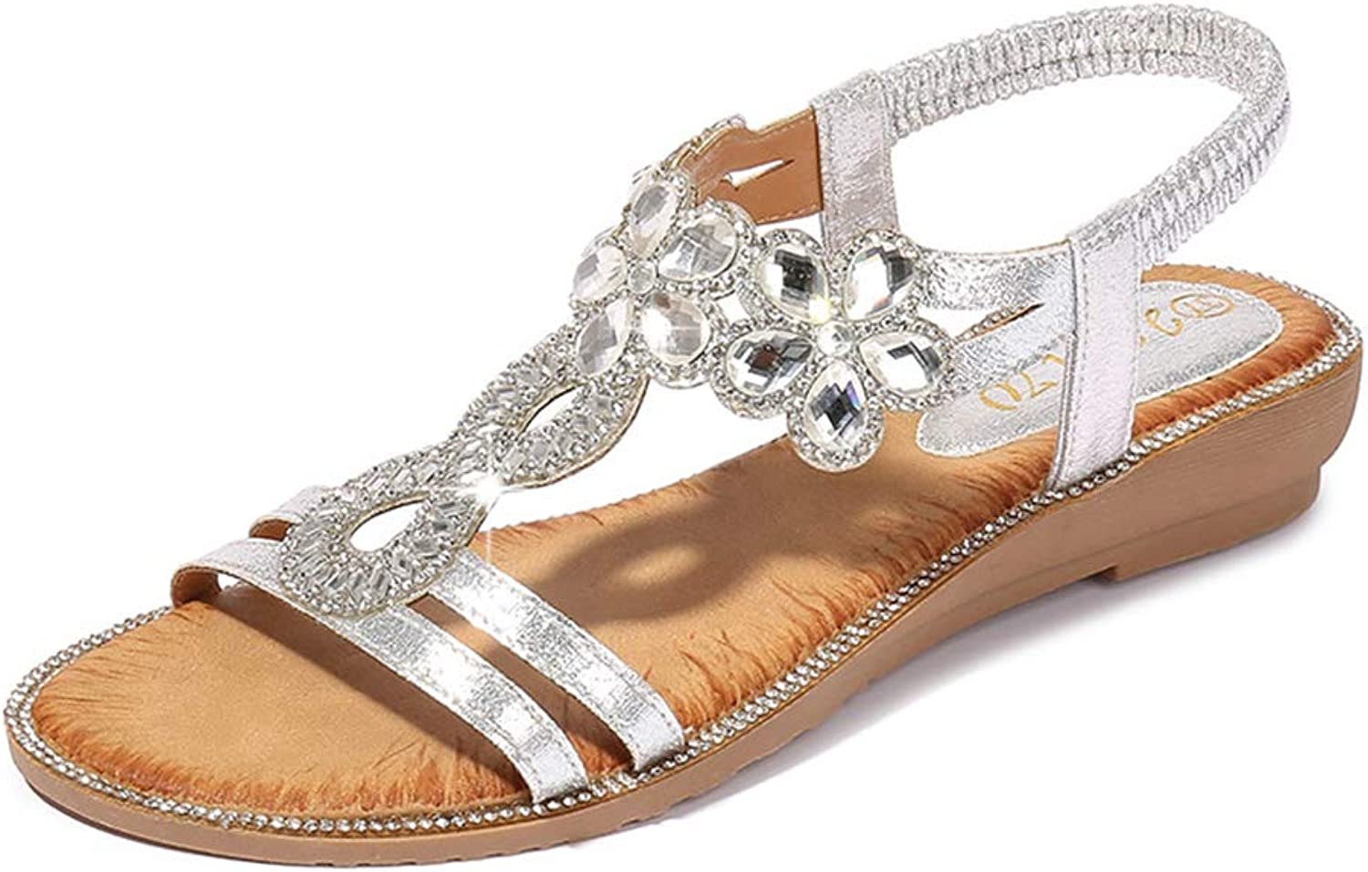 Tuoup Womens Leather Flowers Skidproof Beaded Jeweled Sandals