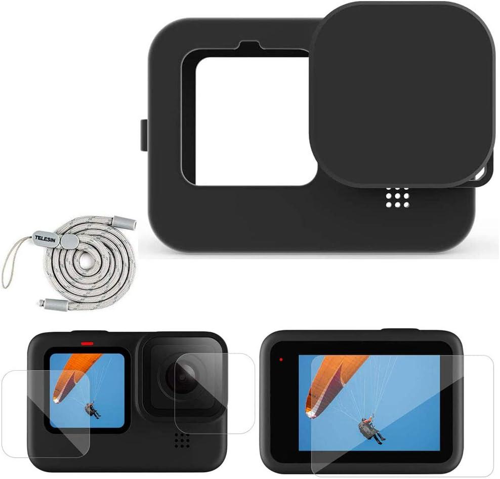 Linghuang - Kit de accesorios para GoPro Hero 9 Black funda de protección de silicona + tapón de lente + correa + protector de pantalla + protector de pantalla