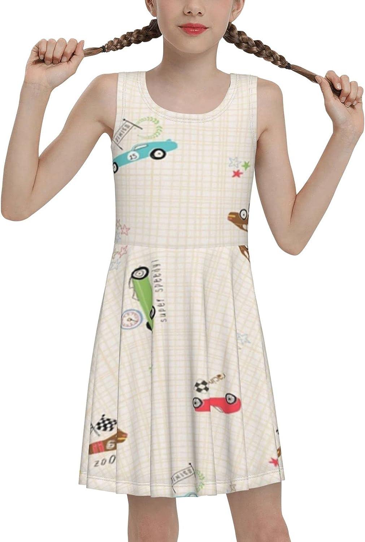 SDGhgHJG Racing Car Sleeveless Dress for Girls Casual Printed Lightweight Skirt