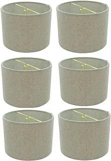 Upgradelights 5 Inch Retro Barrel Drum Clip on Chandelier Lampshade (Set of 6) (Beige) 5.5x5.5x4
