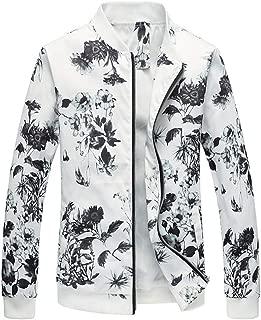 Sunward Men's Jacket Printed Autumn and Winter Casual Baseball Suit Slim Coat