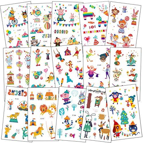 SZSMART Zirkus Karneval Temporäre Tattoos Set, Kindertattoos Clown Aufkleber für Jungen Mädchen Kindergeburtstag Mitgebsel Gastgeschenke, 100+ Clown Tier Tattoos Kinder