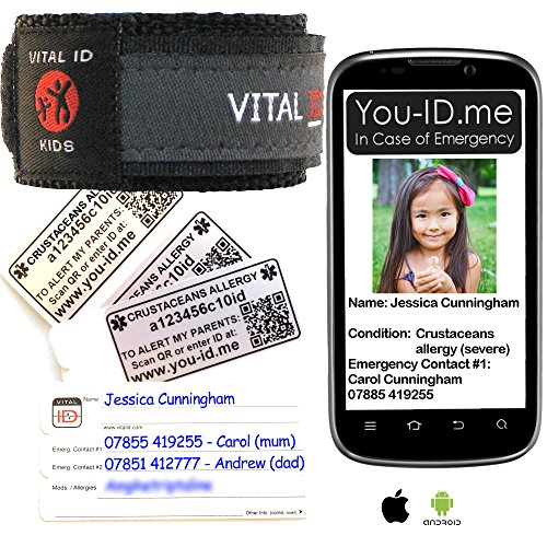Crustacean Allergy Armband voor kind waterdicht en bijwerkbaar Medische Polsband Biedt snel Allergische Informatie en kan SMS Alert sturen naar ouders Telefoon In geval van nood ICE SOS Armband