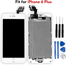 Ayake for iPhone 6 Plus Digitizer Screen Replacement White 5.5'' Full LCD Display Assembly with Home Button, Front Facing Camera, Earpiece Speaker Pre Assembled and Repair Tool Kits