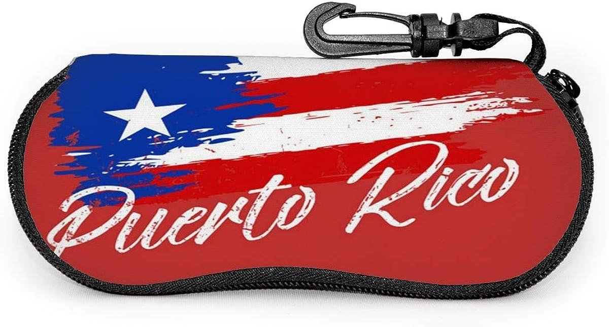 CHILL·TEK Puerto Rico Flag Women's Eyeglasses Case with Carabiner - Lightweight | Portable | Soft | Neoprene Zipper Sunglasses Case