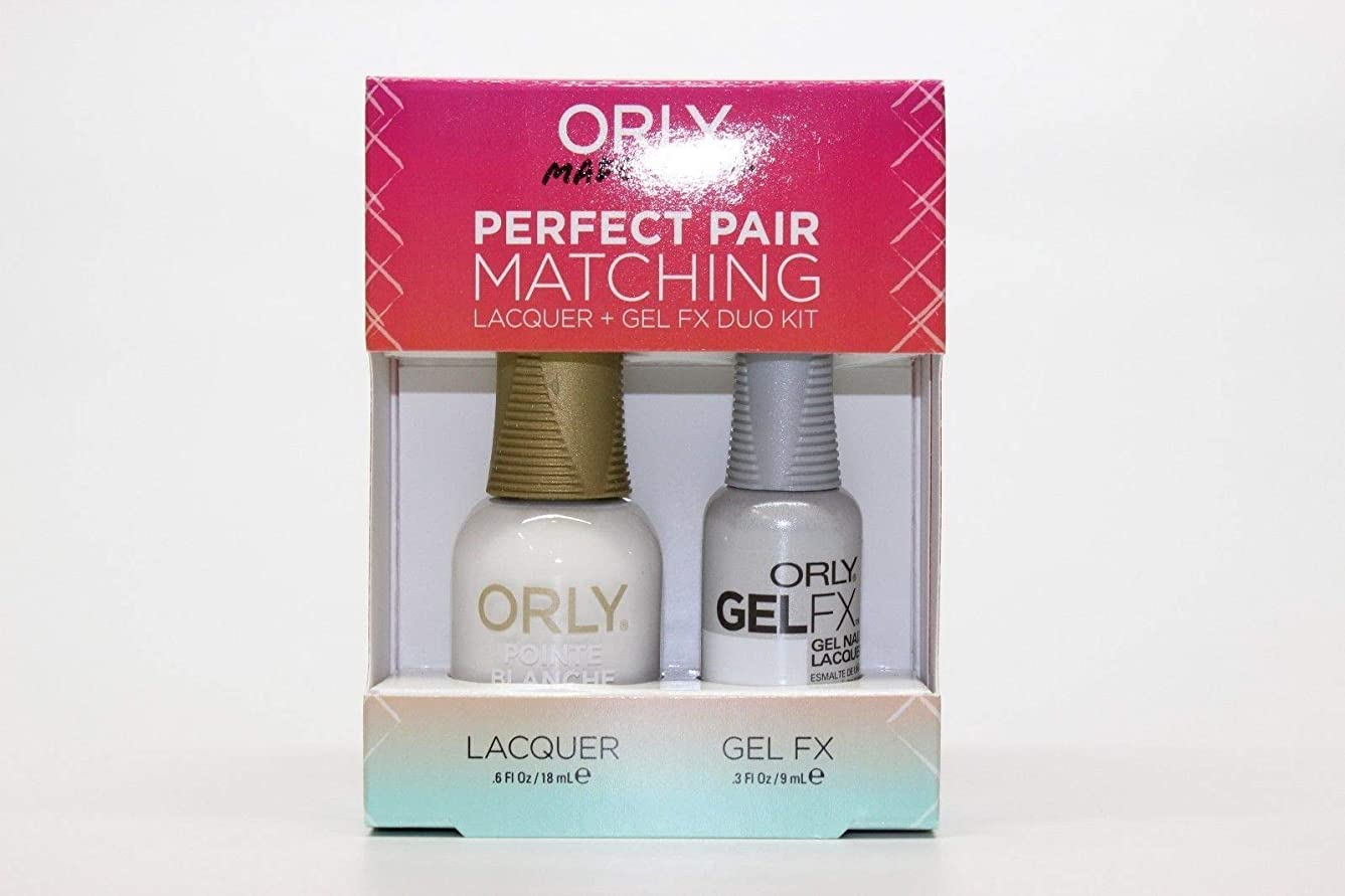 決めます一流に話すOrly - Perfect Pair Matching Lacquer+Gel FX Kit - Pointe Blanche - 0.6 oz / 0.3 oz
