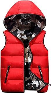 Chaleco de Pluma Sin Mangas Chaqueta con Capucha Niños Niñas Reversible Abrigo de Invierno Camuflaje Trajes Rojo 8-9 Años