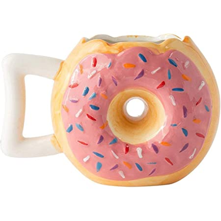 """Ceramic Donut Mug - Delicious Pink Glaze Doughnut with Sprinkles - Funny """"MMM... Donuts!"""" Quote - Best Cup For Coffee, Tea, Hot Chocolate and More - Large 14 oz - Funny Coffee Mug Gift"""