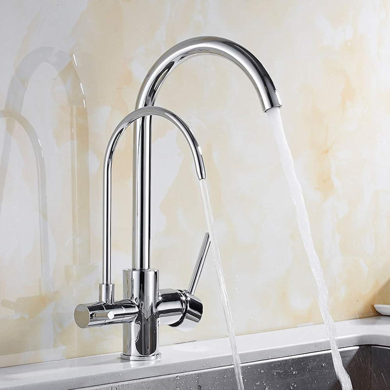 Chrome Küchenarmatur aus massivem Messing Kran Küche Deck InsGrößetion Wasserfilter Wasserhahn Waschbecken Wasserhahn Mischer 3-Wege-Küchenarmatur