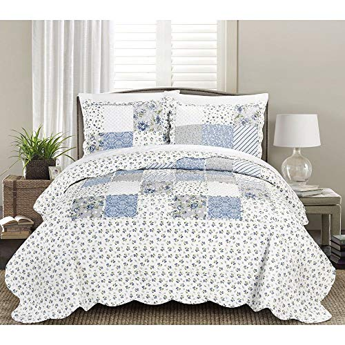 Great Deal! 3 Piece Traditional Patchwork Quilt King Allover Floral Pattern Blue White Hues Cotton Microfiber Shabby Chic Bedding Scalloped Edge Rustic Vintage Style Luxury Cozy Comfy Soft Ruffle Farmhouse Quilt