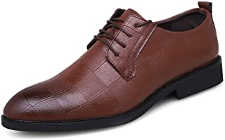 Fashion Classic Business Oxford Shoes Dress Wedding Banquet PU Leather Low Top Anti-Slip Flat Lace Up Pointed Toe Men's Boots (Color : Brown, Size : 8 UK)