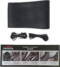 Stitch Steering Wheel Cover - Universal Microfiber Leather DIY Sew On Steering Wheel Covers Wrap B (Black)