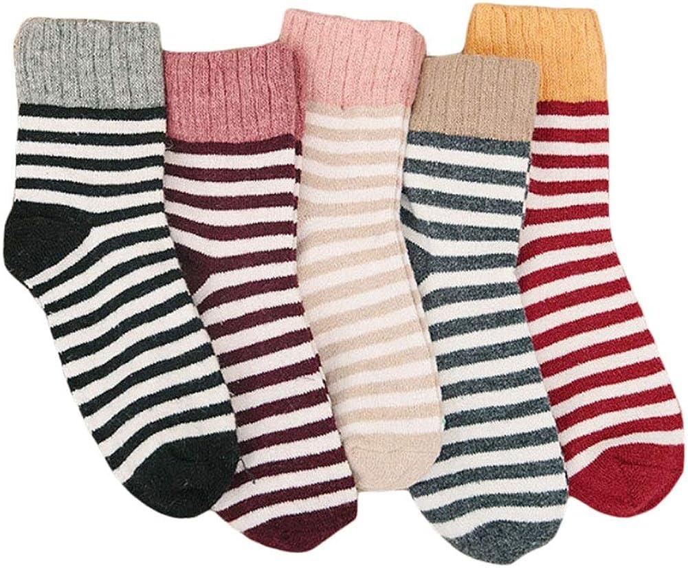 CHUANGLI 5 Pairs Stripe Slouch Socks Warm Wool Knit Crew Knee High Boot Socks for Women Girls
