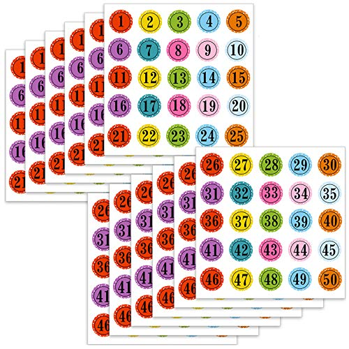 Number Stickers Colorful Round Number Labels Decorative Number Stickers 1 - 50 Adhesive Stickers for School Learning Decorations (12)