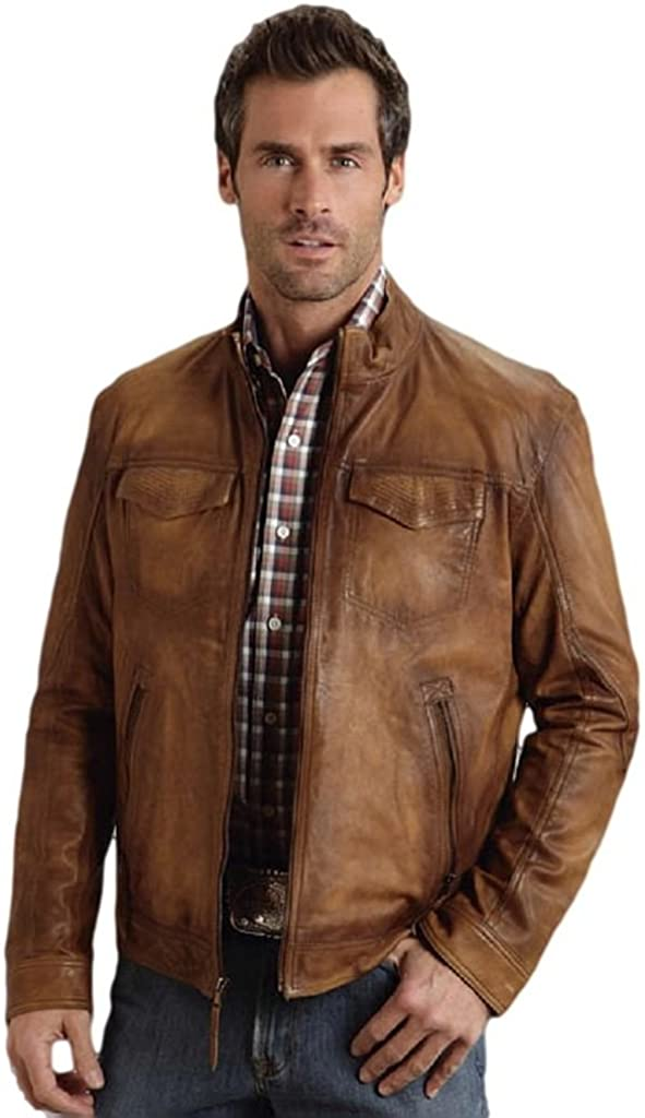 Stetson Burnish Leather Jacket with Inset Pockets Mens Collection- Leat
