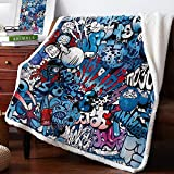 Double Love Sherpa Soft Throw Blanket 39' x 49', Art Graffiti Hip-Hop Street Culture - Fuzzy Luxurious Blanket for Bed Couch Sofa Outdoor Travel | Best Caring Gift for Children Adult Parent