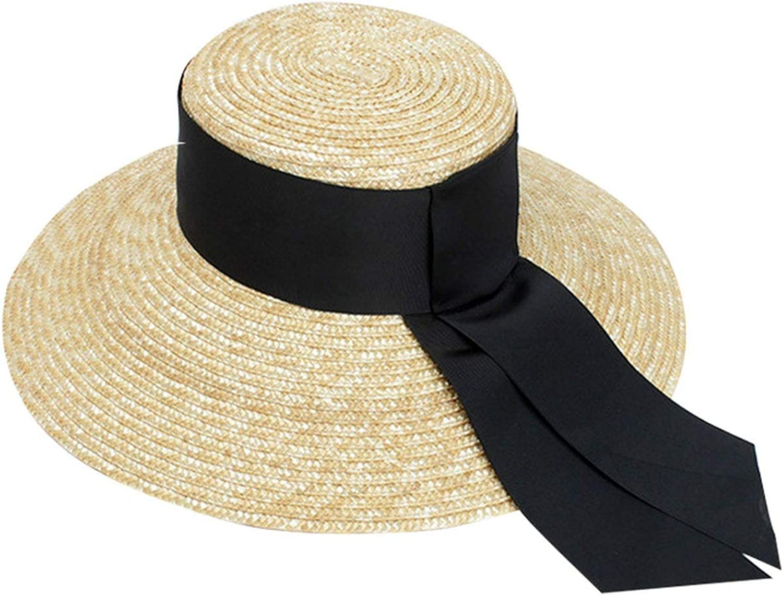 Hat Women Super Wide Black Ribbon Straw Caps Sun Visor Hats Beach Sun Hats with,