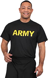 US Army Apfu Black Moisture Wicking Pt Physical Training Work Out Gym T-Shirt