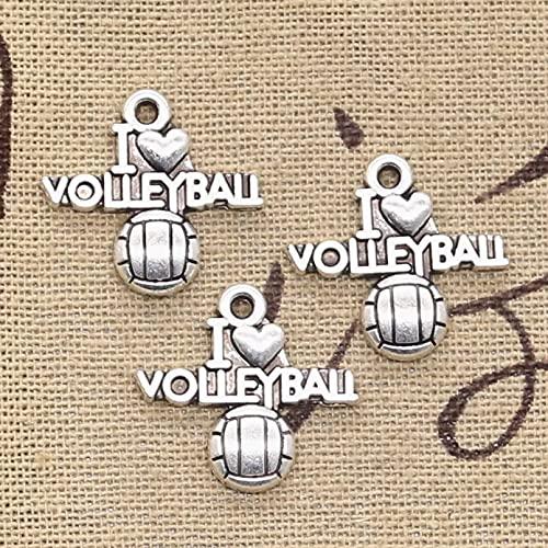 FGHHT 12pcs encantos I Love Volleyball 21x20mm Colgante de fabricación Antigua, Color Plateado, DIY Hecho a Mano