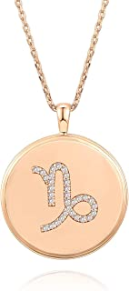 14K Rose Gold Plated Astrology Coin Constellation Necklace | Dainty Necklace for Women | 18