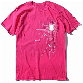 Qier T Shirt Uomo Maglietta Grafica novità, Magliette Rosa Casual, Stampa Geek
