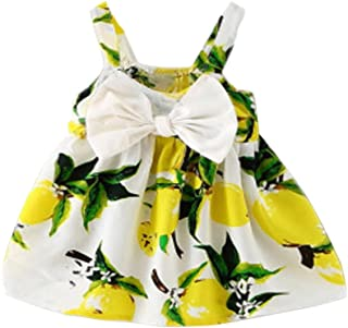 Baby Girls Skirt Set, Newborn Lemon Bow Strap Princess Party Casual Dresses with Sun Hats