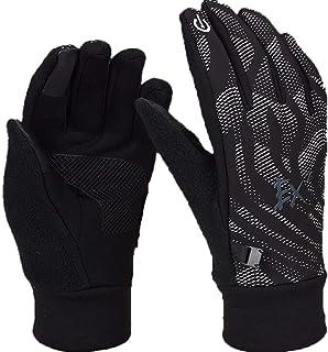 HAOSHUAI Handschoenen Outdoor Sport Mannen En Vrouwen Winter Hardlopen Winddicht Warm Alle Vinger Touch Screen Antisliphandschoenen Ridding handschoenen (Kleur : Zwart, Maat : M)