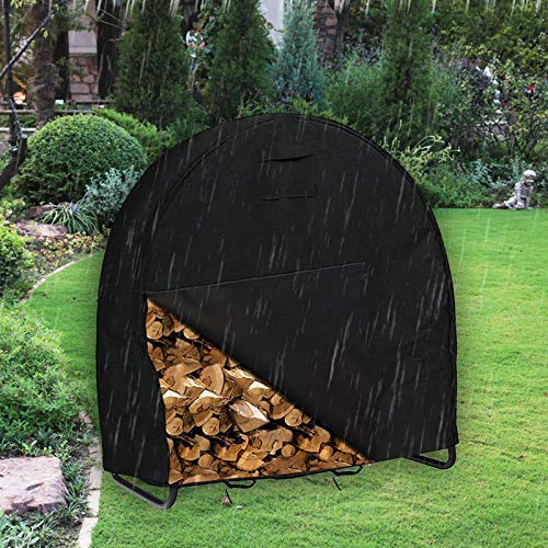 WOMACO Firewood Log Hoop Cover Heavy Duty Waterproof Round Fire Wood Rack Stand Cover Outdoor Weather Resistant Cover for Firewood Holder 40Inch Cover Black