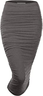 Womens Slim Fit Ruched Long Pencil Skirt with Plus Size