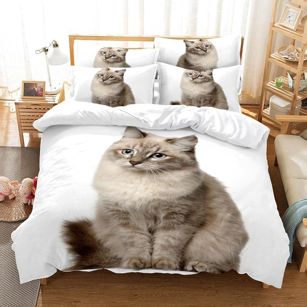 Duvet Cover Be super welcome Full Size 3 Pieces White Print 3D Pussy OFFicial mail order Microfi Teen