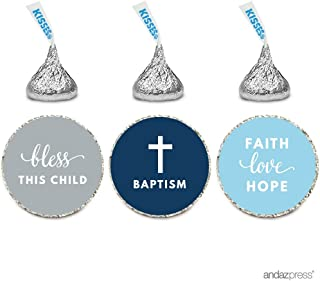 Andaz Press Chocolate Drop Labels Trio, Fits Hershey's Kisses Party Favors, Boy Christening, Baptism, Communion 216-Pack - Religious, Church, Catholic, Scripture, Verse, Bible, Biblical, Faith, Hope, Love, Bless, Blessings