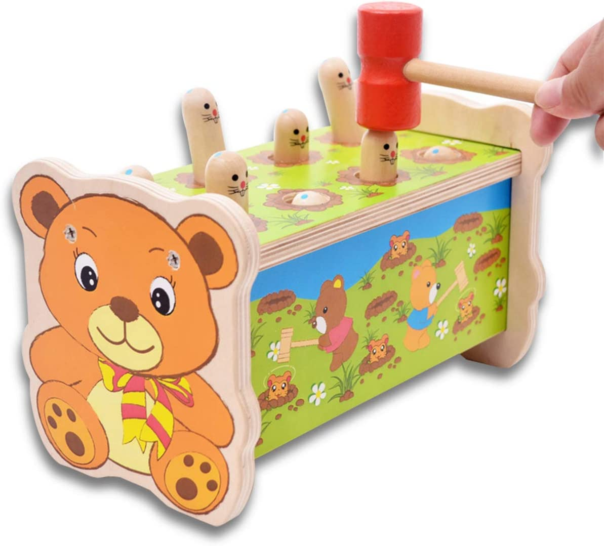 KAILUN Wooden Hammer San Diego Mall Toys for 1 2 Year 2021 autumn and winter new in Along 3 A Pull Old