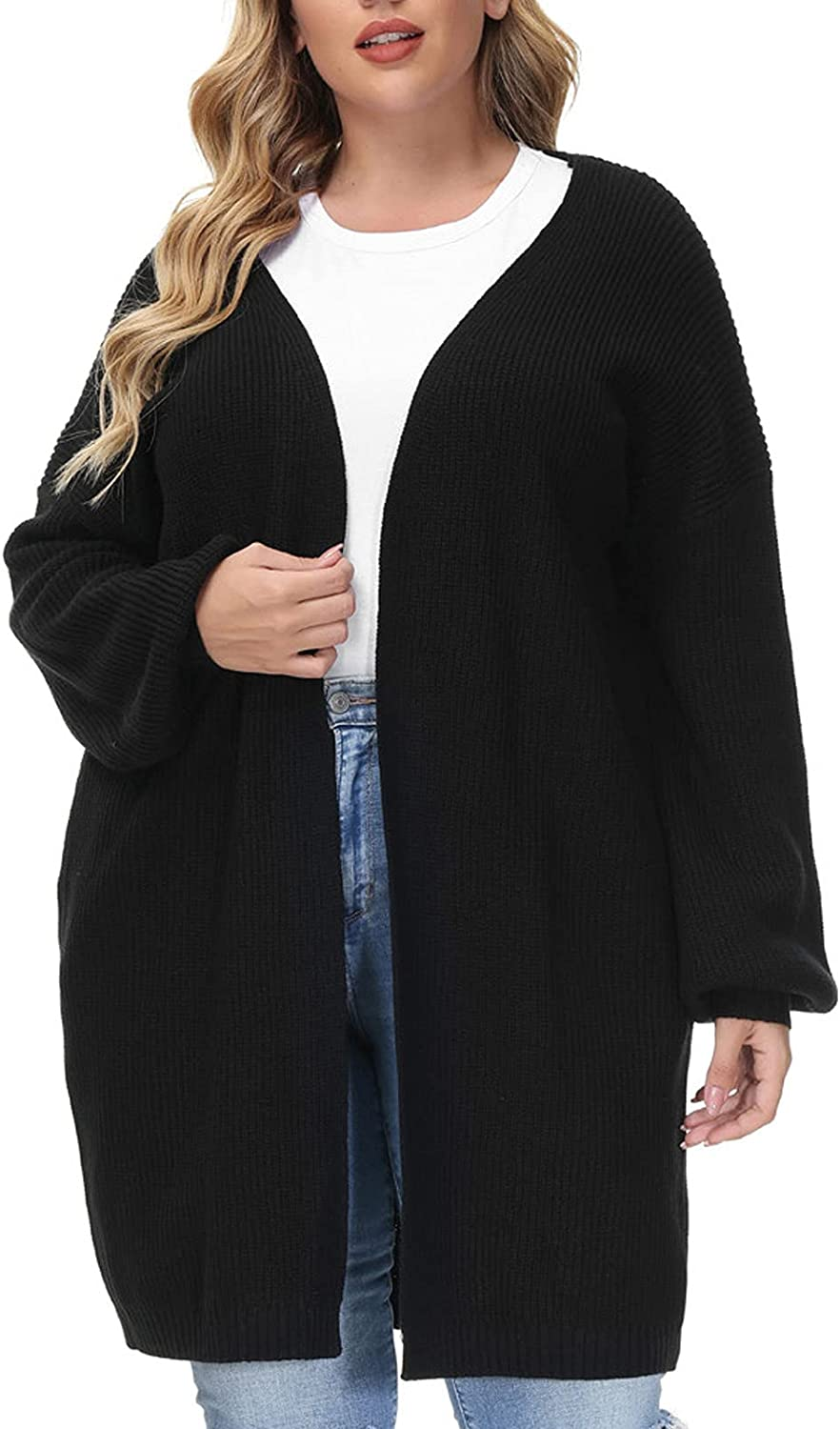 Hanna Nikole Women's Plus Size Long Sleeve Open Front Chunky Knit Cardigan Sweater with Pockets