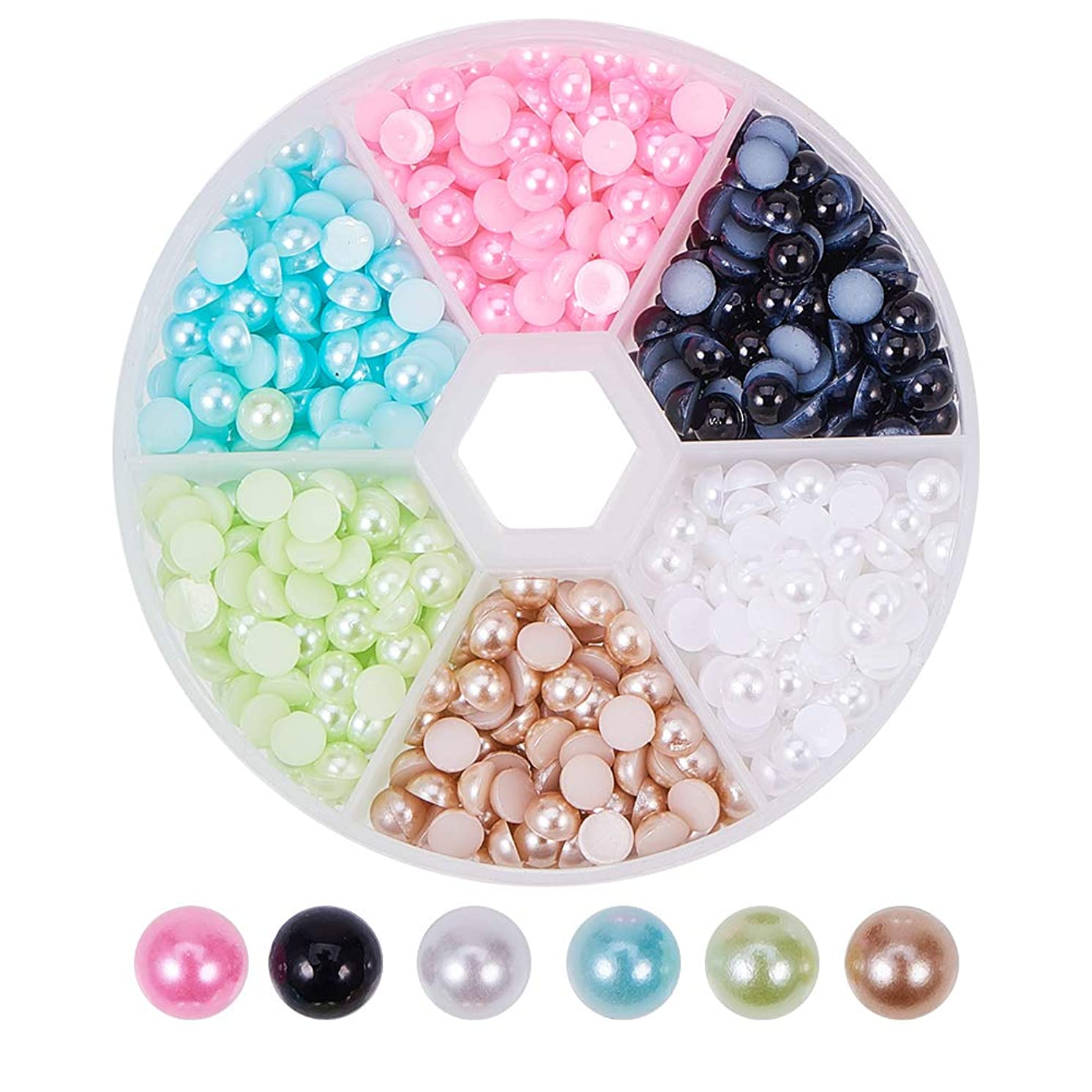 PandaHall Elite 1 Box 6 Colors Flat Back Half Round Pearl Cabochon Diameter 5mm for Nail Craft DIY Decoration