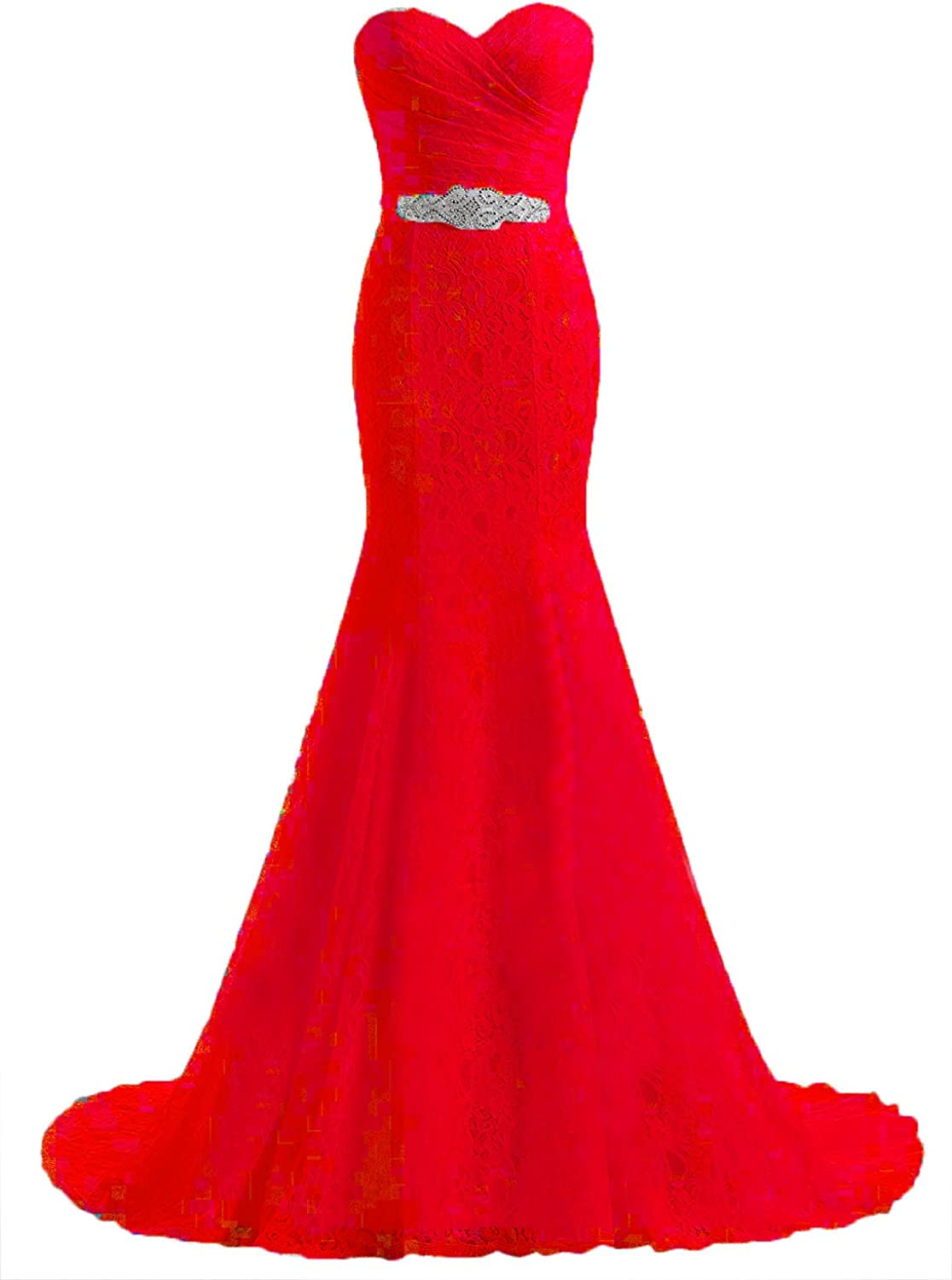 Future Girl Women's Beaded Pleat Lace Wedding Dress Mermaid Bridal Gown with Sash