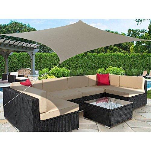 Alion Home 9.5' x 11' Rectangle PU Waterproof Woven Sun Shade Sail (2, Muddy Water)