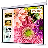 Manual Pull Down Projector Screen 100 inch 16:9 3D 4K HD, Retractable Auto-Locking Movie Projection Screen for Indoor Home Theater Cinema, School Office Presentation, Wall/Ceiling Mounted
